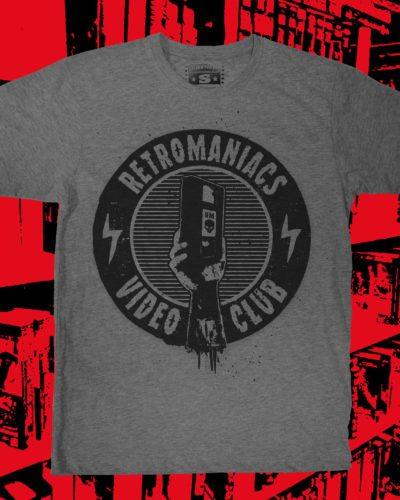 Retromaniacs Video Club T-Shirt Grau Meliertes + Klubkarte