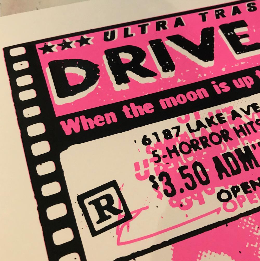 Ultra Trash Drive In Siebdruck Poster