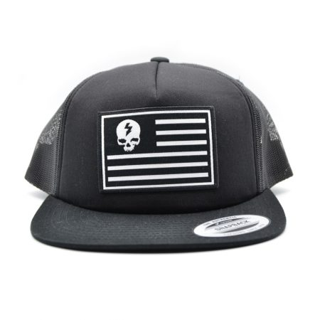 Skull and Stripes Trucker Snapback Cap