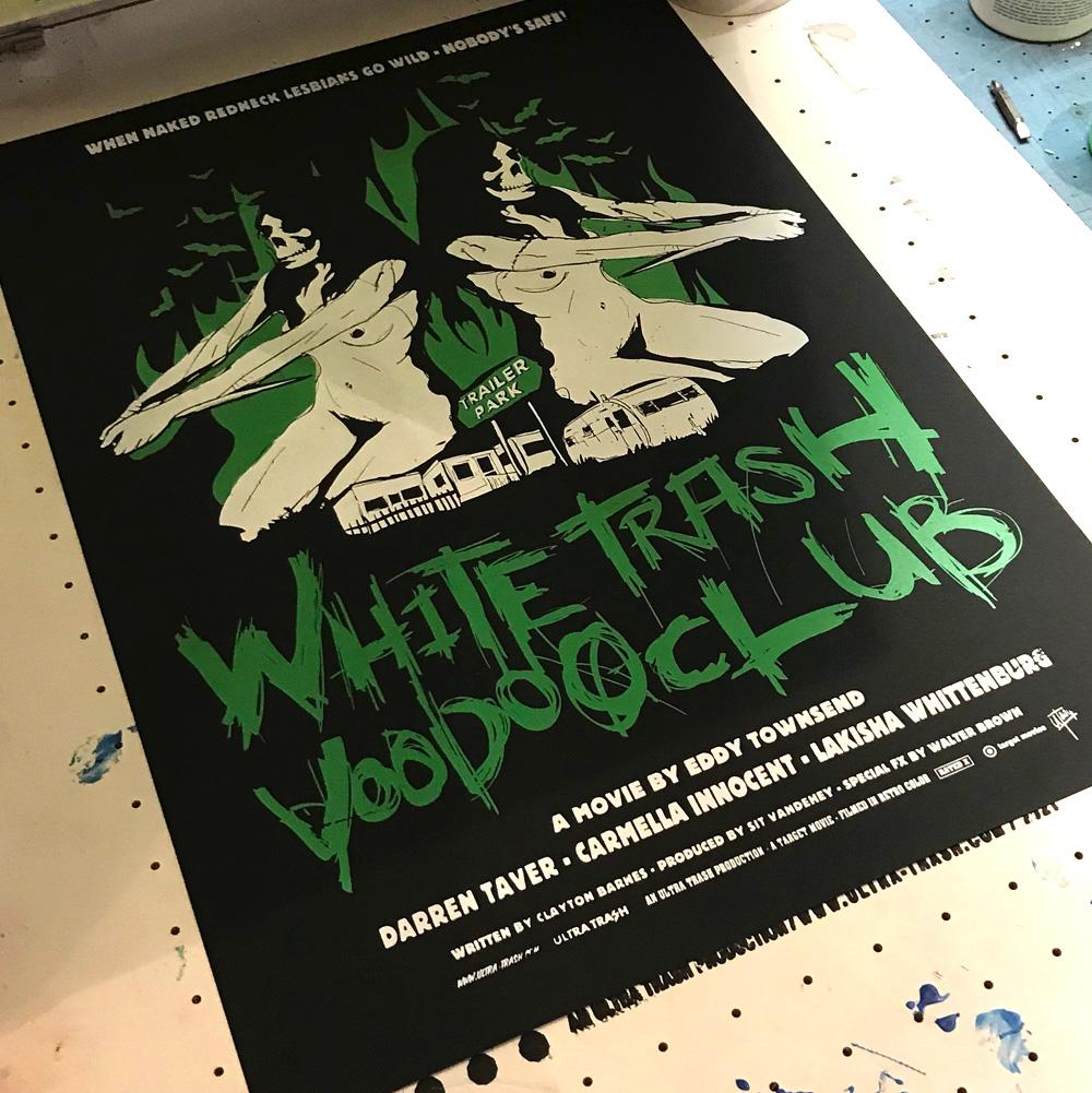 White Trash Voodoo Club siebdruck poster grün